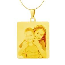 Graveer Ketting Foto en of tekst graveren op foto hanger vierhoek goud inclusief ketting