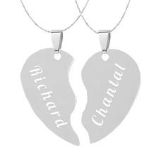Graveer Sieraad Tekst graveren op hanger gebroken hart inclusief ketting