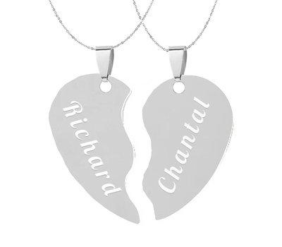 Graveer Ketting Tekst graveren op hanger gebroken hart inclusief ketting