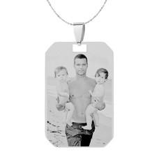 Graveer Sieraad Foto en of tekst graveren op foto hanger kleine dogtag zilver inclusief ketting