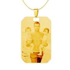 Graveer Sieraad Foto en of tekst graveren op foto hanger kleine dogtag goud inclusief ketting