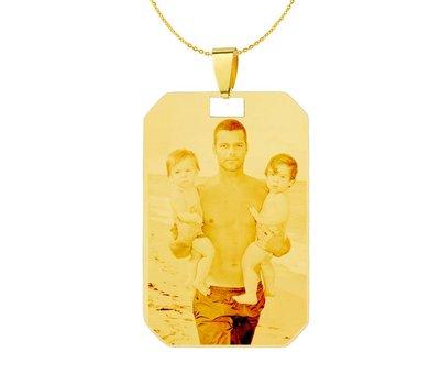 Graveer Ketting Foto en of tekst graveren op foto hanger kleine dogtag goud inclusief ketting