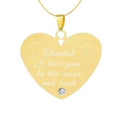 Graveer Ketting Tekst graveren op hanger Diamond Hart Goud inclusief ketting