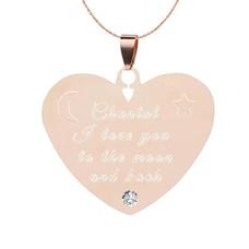 Ketting Graveren Ketting Graveren Hanger Hart Diamond Rosé Goud