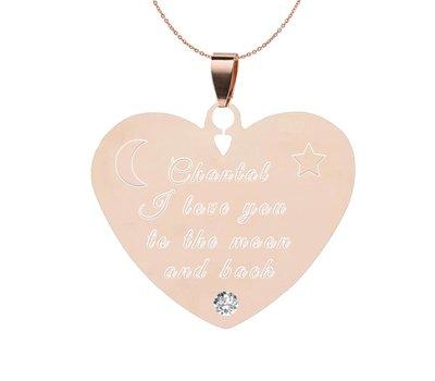 Graveer Ketting Tekst graveren op hanger Diamond Hart Rosé Goud inclusief ketting