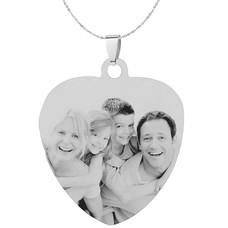 Graveer Ketting Foto en of tekst graveren op foto hanger sweet hart groot zilver inclusief ketting