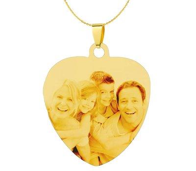 Graveer Ketting Foto en of tekst graveren op foto hanger sweet hart groot goud inclusief ketting