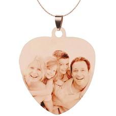 Graveer Ketting Foto en of tekst graveren op foto hanger sweet hart groot rosé goud inclusief ketting