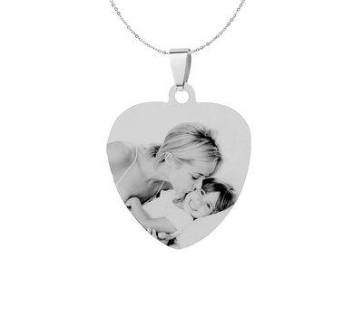 Graveer Ketting Foto en of tekst graveren op foto hanger sweet hart klein zilver inclusief ketting