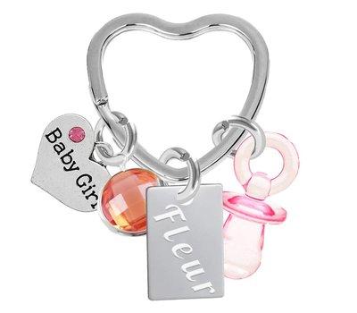 Graveer Sleutelhanger Geboorte sleutelhanger meisje met geboortesteen en naamplaatje