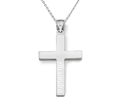 Graveer Sieraad Tekst graveren op hanger kruis Zilver inclusief ketting