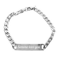 Armband Graveren Tekst graveren op Naam Armband Extra Smal Zilver van Roestvrij staal