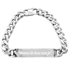 Graveer Sieraad Tekst graveren op Naam Armband chique Zilver van Roestvrij staal