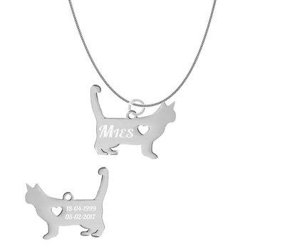 Dieren Sieraden Graveerbare katten ketting kat lopend
