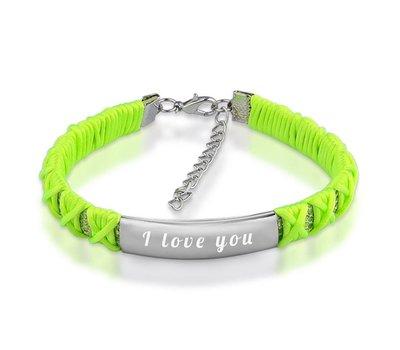Armband met Naam Armband graveren dames fluo groen