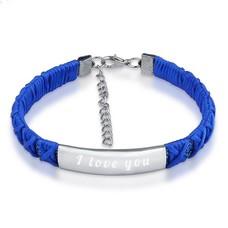 Armband met Naam Armband graveren dames donkerblauw