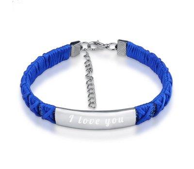 Armband Graveren Tekst graveren op gevlochten Naam Armband donker blauw