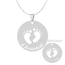 Graveer Sieraad Tekst graveren op baby voetjes in rondje hanger Zilver inclusief ketting