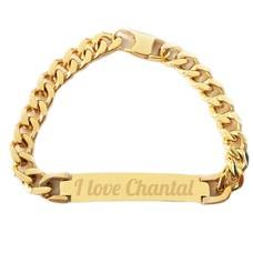 Armband Graveren Tekst graveren op Naam Armband chique goud van Roestvrij staal