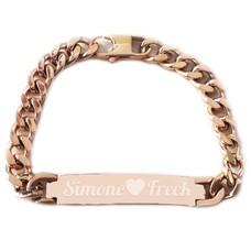 Armband Graveren Tekst graveren op Naam Armband chique rosé goud van Roestvrij staal