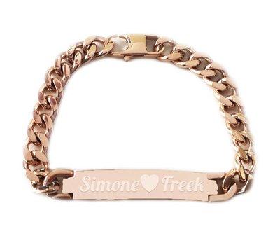 Armband met Naam Armband graveren heren rose goud