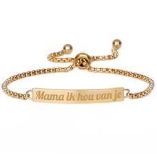Armband met Naam Slide armband graveren goud