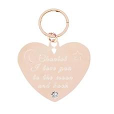 Graveer Sleutelhanger Tekst graveren op sleutelhanger Diamond Hart Rosé Goud