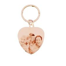 Graveer Sleutelhanger Foto en of tekst graveren op foto sleutelhanger sweet hart groot rosé goud