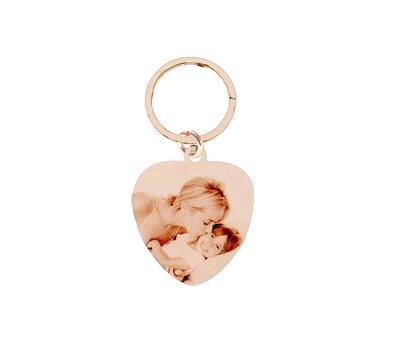 Graveer Sleutelhanger Foto en of tekst graveren op foto sleutelhanger sweet hart klein rosé goud