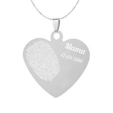 Vingerafdruk Sieraad Vingerafdruk graveren op hanger hart klein zilver inclusief ketting