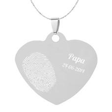 Vingerafdruk Sieraad Vingerafdruk graveren op hanger middel hart zilver inclusief ketting