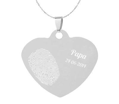 Vingerafdruk sieraad Vingerafdruk sieraad hart middel zilver