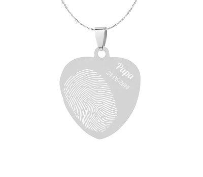 Vingerafdruk Sieraad Vingerafdruk graveren op hanger sweet hart klein zilver inclusief ketting