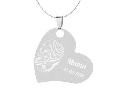 Vingerafdruk Sieraad Vingerafdruk graveren op hanger schuin hart zilver inclusief ketting