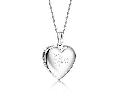 Graveer Sieraad Tekst graveren op hanger foto hart medaillon inclusief ketting