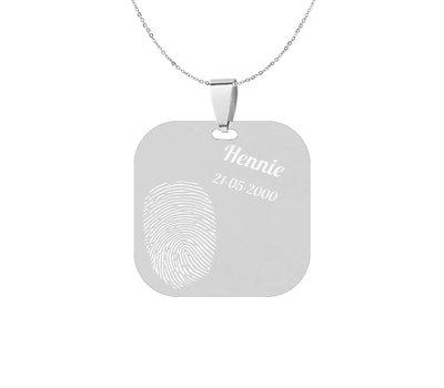 Vingerafdruk Sieraad Vingerafdruk graveren op Vierkant Zilver inclusief ketting