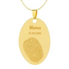 Vingerafdruk Sieraad Vingerafdruk graveren op hanger ovaal goud inclusief ketting