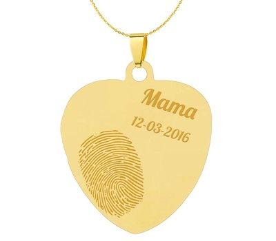 Vingerafdruk Sieraad Vingerafdruk graveren op foto hanger sweet hart groot goud inclusief ketting