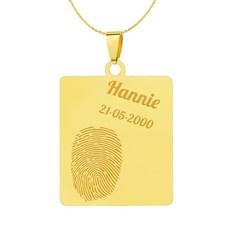 Vingerafdruk Sieraad Vingerafdruk graveren op hanger vierhoek goud inclusief ketting