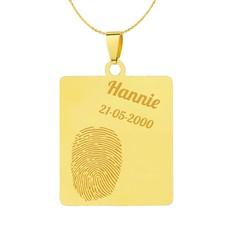 Vingerafdruk sieraad Vingerafdruk sieraad vierhoek goud