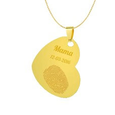 Vingerafdruk Sieraad Vingerafdruk graveren op hanger gekanteld hart goud inclusief ketting