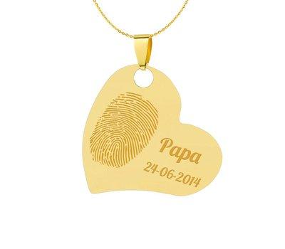 Vingerafdruk Sieraad Vingerafdruk graveren op hanger schuin hart goud inclusief ketting