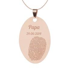Vingerafdruk Sieraad Vingerafdruk graveren op hanger ovaal rosé goud inclusief ketting