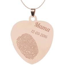 Vingerafdruk Sieraad Vingerafdruk graveren op hanger sweet hart groot rosé goud inclusief ketting