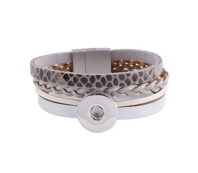 Clicks Sieraden Clicks armband leer snake grijs