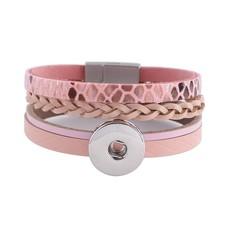 Clicks Sieraden Clicks armband leer snake roze