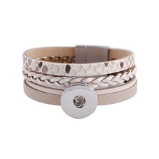 Clicks Sieraden Clicks armband leer snake beige