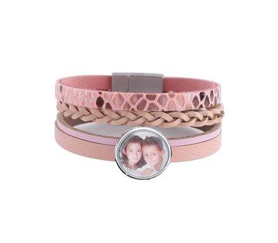 Foto Armbanden Clicks Foto armband leer snake roze met 1 foto