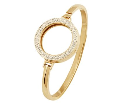 Armband voor munten Armband goud smal met strass van Roestvrij Staal