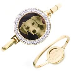 Armband met foto graveren Armband met foto graveren goud strass